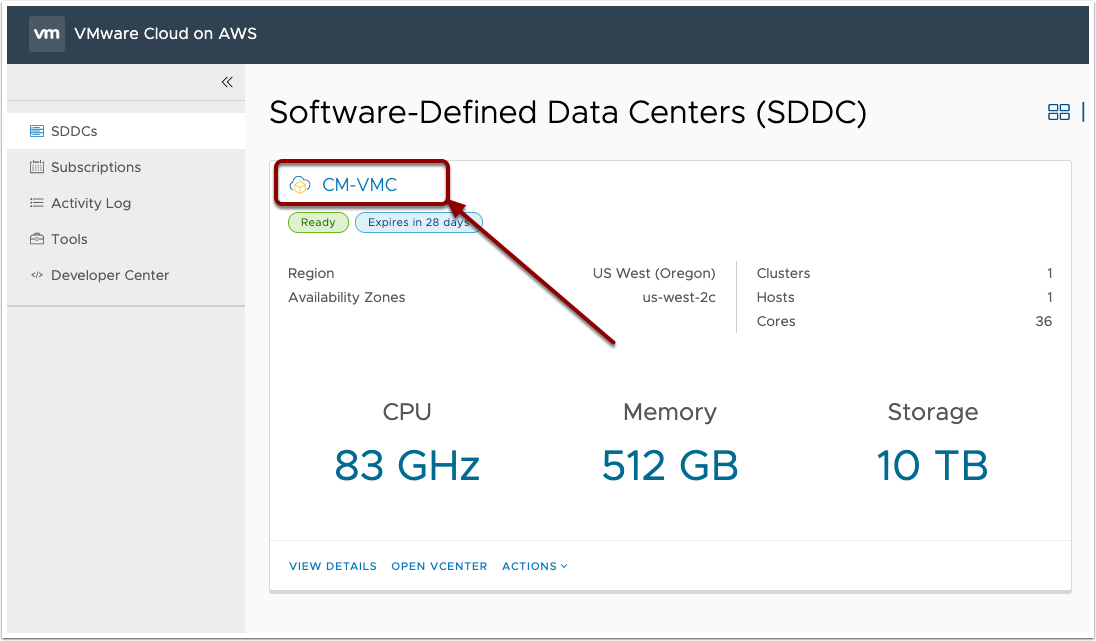 Select SDDC
